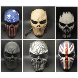Máscaras de airsoft cosplay de cara completa online-Airsoft Paintball MetalMesh Eye Protect Máscara de cara completa Cosplay Juego Cráneo para juego de CS Deportes al aire libre y Halloween Cosplay Envío gratis