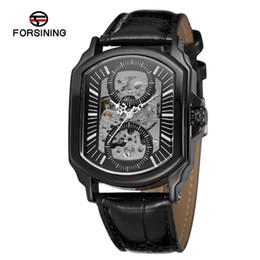 Forsining Homens Popular Assistir Esqueleto Auto-Enrolamento Automático Original Forma Pulseira De Couro Original Caixa De Presente Relógio De Pulso FSG8080M3 de