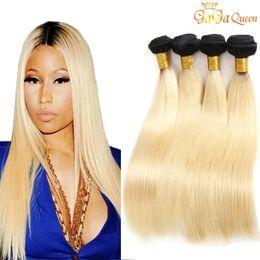 Блондинка волосы черные пучки онлайн-Бразильские прямые волосы пучки 1B / 613 черный корень блондинка Ombre наращивание человеческих волос гаг королева волос