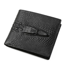 Wholesale Vintage Crocodile Men - New Fashion Casual Business Men's Short Leather Wallet Designer Brand European And American Style Crocodile Head Wallet Credit Card Wallet