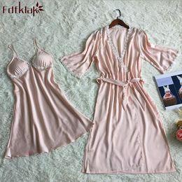 Wholesale Ladies Long Sleepwear - kimono femme new sexy silk robe two piece set long female bathrobes ladies sleepwear lace dressing gown for women 5 colors