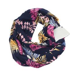 Sciarpa invernale 2018 da donna Stampa convertibile sciarpa Infinity Pocket Loop Zipper Pocket Sciarpe 50 * 180cm cheap scarf loops da sciarpa sciarpa fornitori