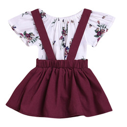 Комбинезон с коротким рукавом онлайн-Puseky Infant Baby Kids Ruffles Short Sleeve Cotton Floral Tops Romper Suspender Dress Overalls Outfits Newborn Girls Cloth Set