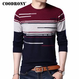 Wholesale Mens Xl Wool Shirt - COODRONY 2017 New Arrival Sweater Men Casual Long Sleeve O-Neck Pull Homme Plus Size Striped Shirt Mens Pullover Sweaters 7184