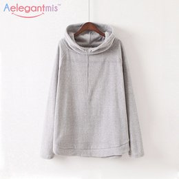 Wholesale Women Loose Grey Sweatshirts - Wholesale- Special Offer Aelegantmis Autumn Long Sleeve Turtleneck Sweatshirt Grey Fleece Hoodies Women Boyfriend Loose Pullovers Jumper