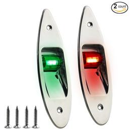 Wholesale Led Marine Spot Lights - 2 Pack of 12V Marine Boat waterproof Navigational LED Side bow Tear Drop Lights SS Vertical Mount-Green red