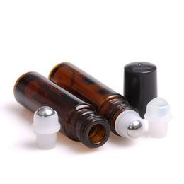 Canada 50 pcs Ambre 10 ml Bouteille En Verre Rouleau Sur Vide Parfum Parfum Bouteille Huile Essentielle 10 ml Roll-On Bouteille En Plastique Noir Cap Offre