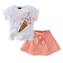 Wholesale Ice Cream T Shirts - Cute Girls Skirt Ice Cream Pattern top Set Baby Kids Summer children's clothing T-Shirt Skirt Children Set 2062