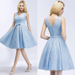 6d25dca71bd petite wedding guest dresses 2019 - Ice Blue Full Lace Short Bridesmaid  Dresses V Neck Knee
