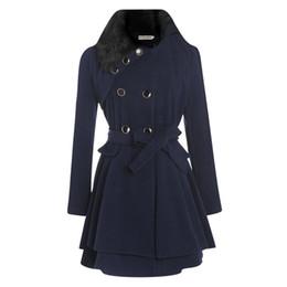 Wholesale Double Breasted Skirt Coat - 2017 Fur Collar Double-breasted Winter Coat Women Woolen Coats Warm Especially Female Overcoat Slim Belt Women's Long Coat Wool