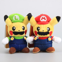 """Wholesale Mario Stuffed - 100% Cotton 2 Color Pikachu Cosplay Super Mario Bros Keychain Plush Doll Stuffed Toy For Gifts Size 5"""" 13cm"""
