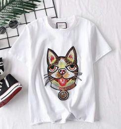 Wholesale girls t shirts dogs - Branded Children Dog Head Applique White Cotton Jersey T-shirt Designer Boy Girl Round Neck Short Sleeves T-shirt Embedried Size110-150