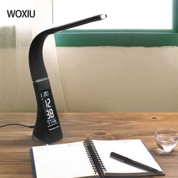 Wholesale Calendar Lamp - WOXIU Women day 5W LED eye protection Table lamps leather-like,folding table lamp alarm display screen for time calendar temperature Black