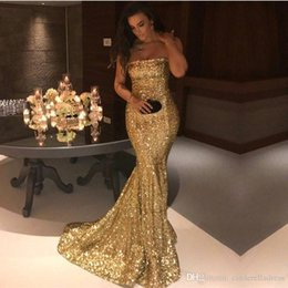 Wholesale Strapless Sparkly Prom Dresses - 2018 Gold Silver Sparkly Sequins Sexy Strapless Mermaid Prom Dresses Sleeveless Backless Sweep Train Party Gowns Formal Dresses Custom Made