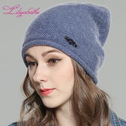 caps angora Sconti LILIYABAIHE Cappello donna autunno e inverno angora  lavorato a maglia cappello Skullies berretti 03898b49c06e