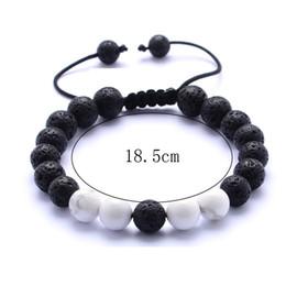Wholesale jewelry black hand - 8MM Lava Stone Essential Oil Diffuser Bracelet White Black Beads Bracelet Hand Strings for Women Jewelry