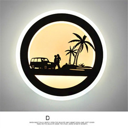 Wholesale Wall Light Children Bedroom - sconces bedside wall lamp bedroom art livingroom aisle stair lights simple modern creative personality LED night light children round ring