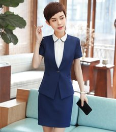 Wholesale ladies beige blazers - New Styles 2018 Summer Short Sleeve Formal Women Business Suits With Tops And Skirt For Ladies Career Interview Job Blazers