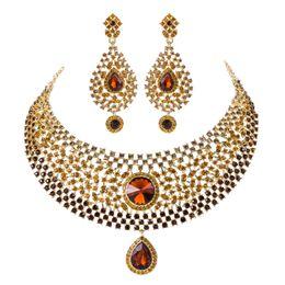 ensembles de bijoux de mariage Vente chaude cristal brun strass Inde Style nuptiale collier boucles d'oreilles Dîner Déclaration bijoux accessoires ? partir de fabricateur