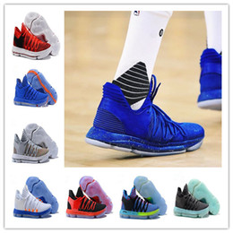 Wholesale Durant Basketball - +box Newest designer shoes Zoom KD 10 Anniversary PE Men Basketball Shoes vapormax KD X Elite Low Kevin Durant Athletic Sport Sneakers
