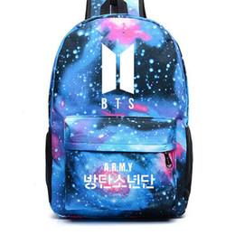 Niña estrella coreana online-BTS Mochila Galaxy impresión de las estrellas bolsa de mano Mochila para el bolso de viaje joven adolescente Bolsas Escuela de Corea