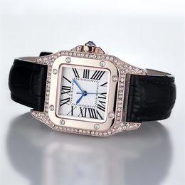 Quadratische diamanten online-2017 Fashion Luxury Uhren Unisex Frauen Männer Uhr Platz Diamanten Lünette Lederband Top-marke Quarz Armbanduhren für Männer Dame Beste Geschenk