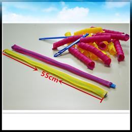 Wholesale magic hair roller curlers - 18pcs 55cm long Hair Curlers for Long Hair No Heat Cheap Hot Tools Curl shape