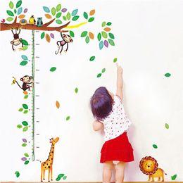 Wholesale Giraffe Baby Rooms - Cartoon Giraffe Monkey Trees height Wall Sticker Baby Room Children Bedroom Wall Stickers Home Decor Wall Art StickerZI-386