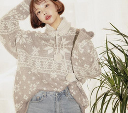Wholesale Girls Sweater Knit Pattern - Snowflake pattern jacquard o-neck pullover sweater National retro mori girl