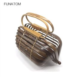 Wholesale basket bamboo - 2018 Bamboo Basket Bamboo Bag Women Large Straw Bag Summer Hollow Out Tote Luxury Designer Foldable Two Colors