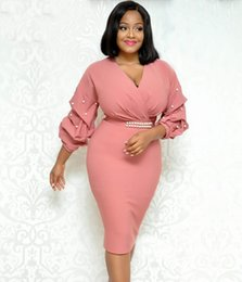 00077a4d1efc V Neck rosa elegante OL Abiti da lavoro Perle moda maniche lunghe  drappeggiate donne matita abito al ginocchio lunghezza tessuto di alta  qualità 2018 più ...