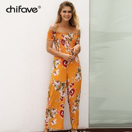 9131e6c71cc Women Summer Sexy Off Shoulder Jumpsuit Short Sleeve Casual Wide Leg Rompers  Boho Floral Printed Elastic Waist Overalls chifave