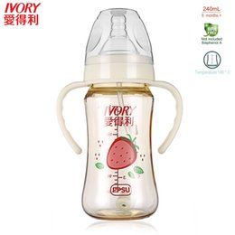 Wholesale Resistance C - IVORY 240mL Baby Bottle Durable Wide Neck 180'C Temperature-resistance Safe PPSU 360'Free Sucking Feeding Bottle With Handle Hot