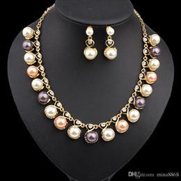 color crema de perlas Rebajas Pendientes de perlas de imitación de colores modernos Pendientes de perlas de la boda Conjuntos de novia de perlas de cristal y perlas de diamantes de imitación de cristal