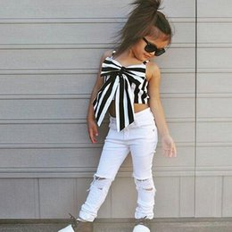 Wholesale jeans pant shirts - Toddler Kids Girl Clothing sets Striped Big Bow T-shirt Crop Top+Long Hole Jeans Pants Outfits Kids Clothes