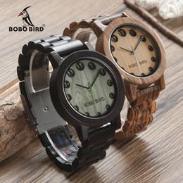 2019 reloj de numerales arábigos BOBO BIRD WN24N25 Wood Watch Zabra Ebony Relojes de madera para hombres Eastern Arabic Numerals Dial Watch con herramienta para ajustar el tamaño rebajas reloj de numerales arábigos