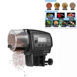comederos automáticos para peces Rebajas Alimentador de peces automático digital que alimenta para el tanque de la rana de pescados del acuario dispensador de alimentos de pescado de la tortuga 100pcs