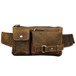 Bolsos de cuero genuino para hombres online-Cofre de cintura alta bolsa de cuero genuino Vintage Sling Messenger Bags Hombres Hip Belt Bum Pouch Fanny Pack