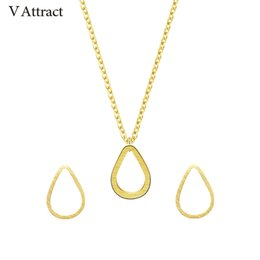 Wholesale Teardrop Choker Necklace - V Attract Raindrops Stud Earrings Teardrop Pendant Choker Necklace Stainless Steel Jewelry Sets Women Les Nereides Gold Ketting