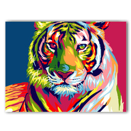 Wholesale Oil Canvas House - Beautiful House DIY Painting By Numbers Modern Home Wall Art Picture Hand-painted Oil Paintings For Room Artwork 40*50 Tiger