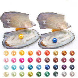 Wholesale free love heart - Free Shipping 2018 Akoya Oyster with AAA+ Grade 6-7 mm Round Multicolored Freshwater Wish Pearl Vacuum Package for Kids Party Fun Gifts