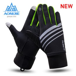 Wholesale red climbing gloves - AONIJIE Men Outdoor Sports Warm Windproof Cycling Hiking Climbing Women Cross-country Running Ski Full Finger running Gloves Sal