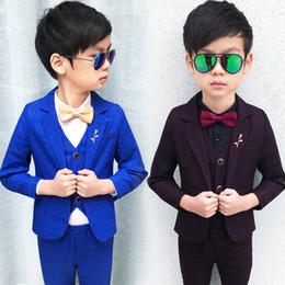 598806fcd09 2018 Child Suits Slim Plaid Fashion Baby Blazer suit Jacket pant vest shirt  4parts Kids Costume Wedding Flower Boy Dress