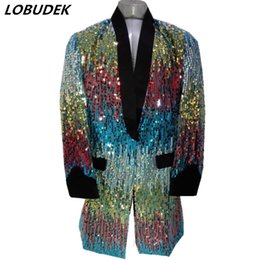 Wholesale Colorful Blazers - Men's Long Colorful sequins Suits jackets Formal prom stage Blazers male Host singer Performance clothes cool stage costumes