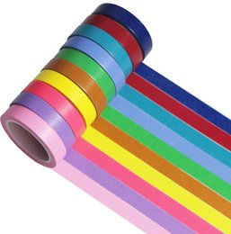 scrapbooking tapes UK - Wholesale 10Pcs Washi Tape Solid Color Masking Tape Sticky Paper 7mm x 5m Crafts Scrapbooking DIY Decoration Stationery School Supplies