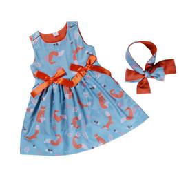 Laranja tutu vestido meninas verão on-line-2018 crianças meninas laranja raposa azul vestidos de princesa festa sem mangas bowknot vestidos tutu bebê menina roupas de produtos de verão de alta qualidade 12M-6Y