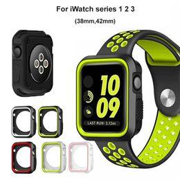 Argentina 5 colores para la serie iWatch 1 2 3 Funda de silicona correa deportiva correa cubierta protectora para Apple Watch 38 mm 42 mm cheap apple watch sport case Suministro