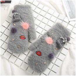 Wholesale Pink Fur Gloves - Winter Gloves Women Soft Warm Gloves Cute Cartoon Rabbit fur Girl Female Mittens Women Guantes Mujer
