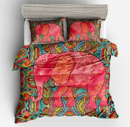 indian bedding Promo Codes - 3pcFashion 3D Elephant Bedding Set Bohemia twin full queen King Duvet Cover with Pillow Case Colorful Printed Indian quilt Cover