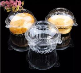 Contentores de transporte descartáveis on-line-Claro Plástico Muffin Único Cupcake Bolo Recipiente Caso Caixas Descartáveis Transparente Claro Grau Alimentar Plástico Frete grátis